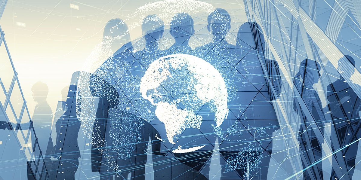 silhouette of a group of business people with a digitized globe overlay in front of them