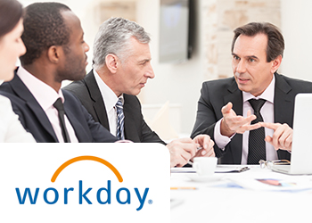 four business people having a meeting with the Workday logo in the bottom left corner