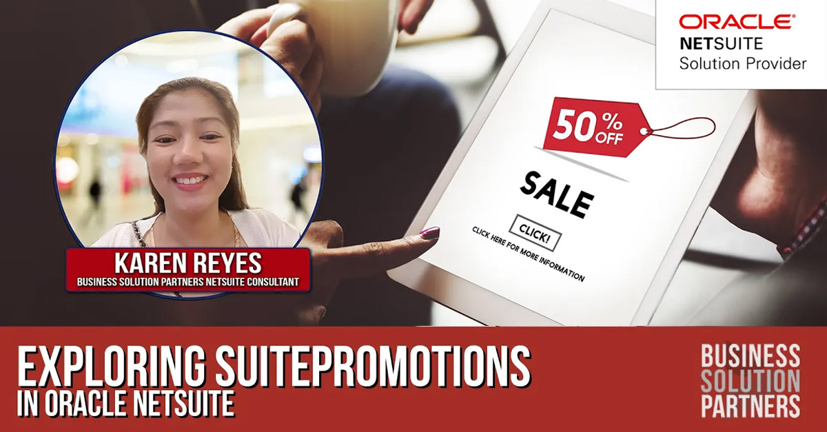 Image of a woman's hand pointing to a tablet with a 50% Off Sale ad